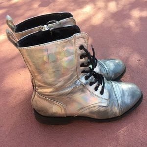 Iridescent silver combat lace up boots